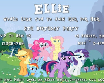 My Little Pony - Personalised Children's Party Invitations - Pack of 10
