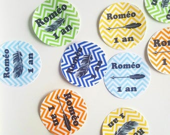 16 Stickers for candy box or bag of candy - 6.5 cm diameter multicolor theme Indian feathers and arrows-birthday