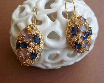 Antique earrings with amethyst and sapphire blue