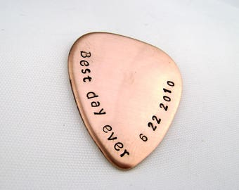 Custom Anniversary Guitar Pick, Best Day Ever Copper 7th Anniversary Gift for Husband, Music Lover Gift, Wedding Date Plectrum Groom Gift
