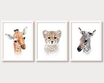 Safari Nursery Wall Art Baby Animal Portraits Safari Nursery Decor Pictures for Baby Room African Zoo Zebra Cheetah Giraffe Print Set of 3