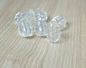 18 x 25mm Clear Ridge Lucite Plastic Beads/Vintage Barrel Plastic Clear Beads/Wholesale/Sold by 60 PCs, Clear Beads,Grooved Tube Beads,