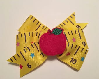 Back to School Bow with Ruler Ribbon School Bow with Felt Apple School Bow with Apple Yellow Ruler Bow