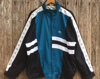 Rare!! Vintage kappa Windbreaker jacket nice design logo kappa on sleeve Colourblock Style large size