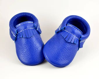 ON SALE! Royal Blue Baby Moccasins Handmade Genuine Leather Moccs Infants Toddlers Boys Girls Soft Soled Shoes Prewalker Booties Baby Shower