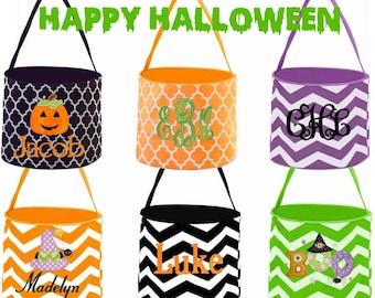 Halloween Bucket - Trick of Treat Bucket - Halloween Bag - Treat Bag - Personalized Halloween Bag - Custom Halloween Bucket - Kids Candy Bag