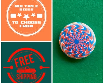 Optical Illusion Blue & Red Design Button Pin or Magnet, FREE SHIPPING and Coupon Codes
