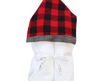 Axel's Red Plaid Hooded Towel | Full Size Toddler Hooded Towel | Red Plaid and Dark Linen | Baby Shower Gift | Boy Shower Gift
