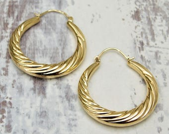 9ct gold hoop earrings - 9k gold - 9ct yellow round earrings - 9ct large hoop earrings - British vintage  jewellery