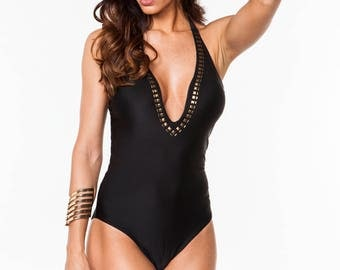 Studded- Black One Piece Swimsuit