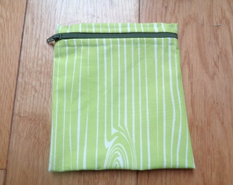 Snack Bag - Bikini Bag - Lunch Bag - Make Up Bag Small Poppins Waterproof Lined Zip Pouch - Sandwich bag  Eco - Lime Green Wood Grain