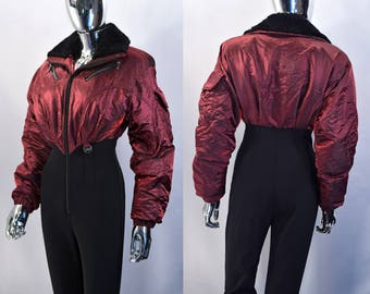 Women's Ski Suit | Vintage Nils Skiwear Red, Black One Piece Snow Overalls, Coveralls, Jumpsuit. Puffy Snowboard Jacket. Shiny. 1990s Gear