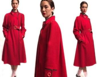 WEEKEND40%OFF Vintage 70s Red Wool Coat