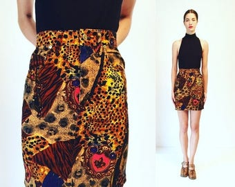moving sale % Vtg 80s Denim Animal Print Golden High Waisted Mini Skirt