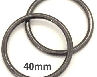 GUNMETAL o-rings 40mm ID / One and One Half Inch o Rings / Black O Ring / Strap Hardware / O rings / Set of Two O Rings