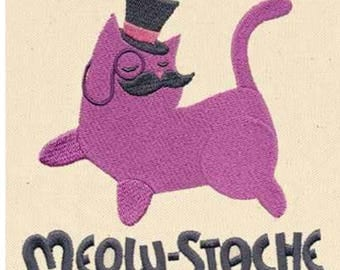 Meow-stash dapper cat in a hat & monocle custom embroidered hoodie xs-4xl