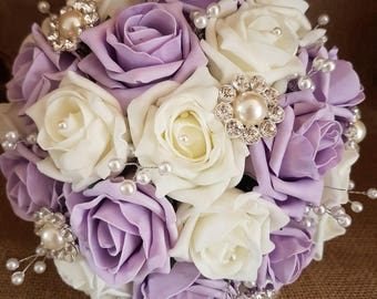 Wedding Flowers, Roses, Ivory and Lilac, Wedding Bouquet, Foam Roses, Artificials, Brooch Bouquet, Pearls