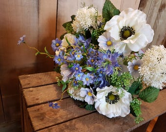 Blue and White Bridal Bouquet - Bride - Bridesmaid - Wedding Flowers - Silk - Artificial - Faux - Wedding Bouquet - Country Flowers