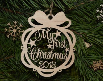 Personalized Babys First Christmas Ornament Personalized Baby Ornament My First Christmas Ornament Baby's 1st Christmas Ornament Decor