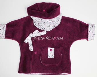 Vest and snood child/baby matching set reversible plolaire and cotton.