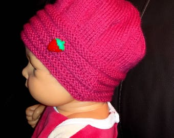 Baby girl knitted winter hat size 1/3 months