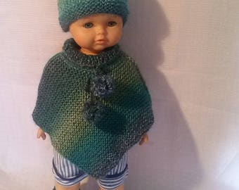 Clothes for dolls 50cms, poncho, hat and booties in wool