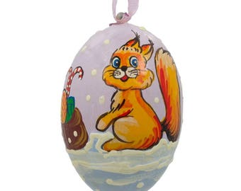 """3"""" Squirrel, Candy Cane and Gifts Wooden Christmas Ornament"""