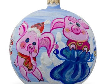 "4"" Two Pigs with Gifts in Winter Glass Ball Christmas Ornament"