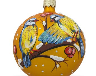 """3.25"""" Yellow and Blue Birds on Branch Glass Ball Christmas Ornament"""