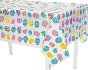 """54"""" x 72"""" Colorful Plastic Easter Egg Table Cover"""