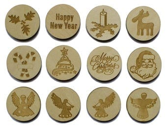 """2.25"""" Set of 12 Wooden Christmas Round Cut Outs"""