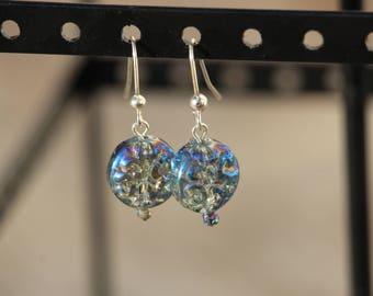 Light Blue, Iridescent, Glass Bead, Dangle Earring