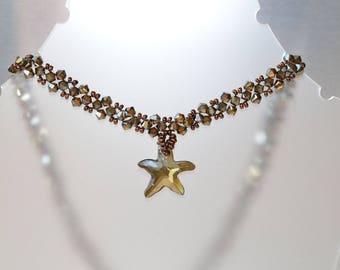 Swarovski crystal necklace Sea Star bronze shade and bronze shade 2x