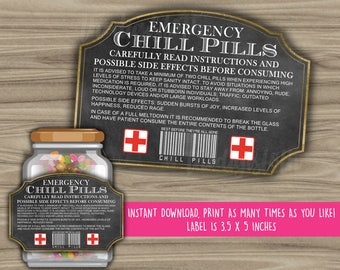 Chill Pills Printable Chalkboard Label - Funny Gift - INSTANT DOWNLOAD - Christmas Gift For Boss - CoWorker - Work Office Gag Gift - PL12