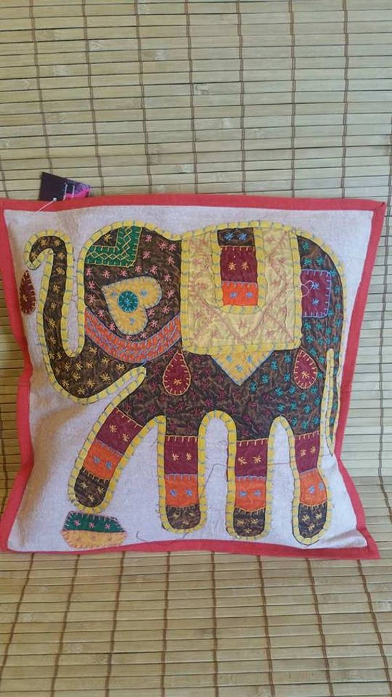 Brown Elephant print cushion cover, ethnic pillow, decorative pillow, boho bedroom decor, Bohemian decoration, Stone wash cotton, Patch work