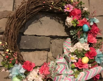 Spring & Easter holiday wreath. Hand Tied Bow.