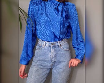 Vintage 80s blouse blouse s blue electric kitsch pussy (XL-42)