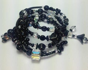 Memory Wire Bracelet, Ebony Rainbow