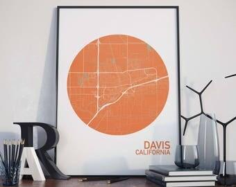 Davis, California City Map Print