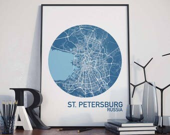 St. Petersburg, Russia City Map Print