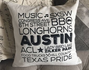 Austin Texas Screen Printed Pillow