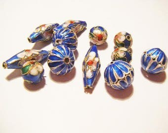 12 charms blue cloisonne beads
