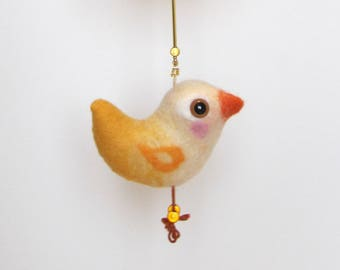 Decorative felt garland with  bird and cloud, Ntural décoration for baby.