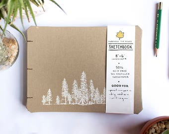 Through the Pines Handmade Landscape 8x6 Coptic Stitch Sketchbook for Pen, Pencil, Sketching, and Dry Media | Great for travel and adventure