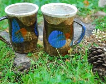 Ceramic coffee and tea mugs | large mugs - large coffee mug - mugs with handles - black and blue design mug