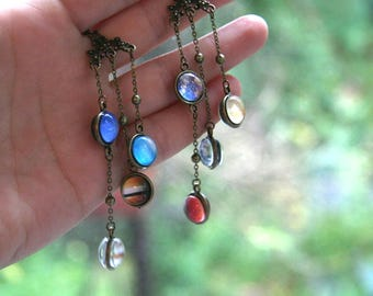 Solar System Earrings, Planet earrings, Large dangle earrings, Galaxy Earrings, Solar System lover, astronomy gift, Solar System Gift