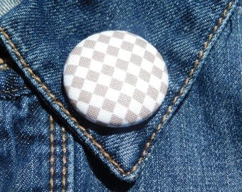 Tan and White checkered lapel Pin