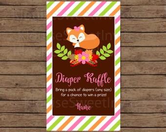 Printable Fall Autumn Sleeping Fox Baby Shower Pink Diaper Raffle, JPEG 300DPI, 3.5x2 inches