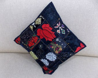 """Indian Pure Cotton Cushion Cover Home Patch Work Decorative Black Color Size 17x17"""""""