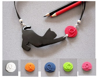 Necklace halloween black cat and ball of color, black cat necklace and ball of your choice polymer clay, cat necklace fimo, black cat jewel